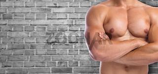 Bodybuilder Bodybuilding Muskeln posen Textfreiraum Copyspace Body Building Mann stark muskulös