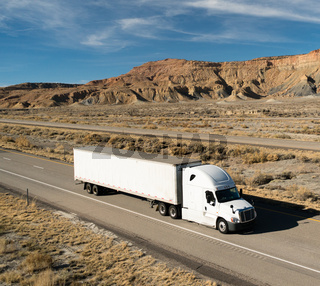 OTR Vehicle Transportation 18 Wheeler Big Rig White Semi Truck