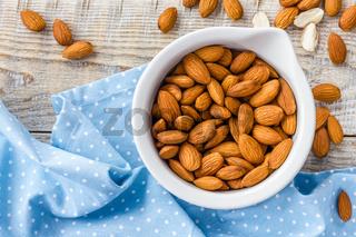 Almond nuts, vegan healthy food, superfood