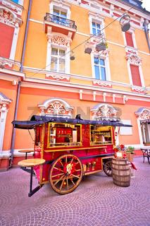 Christmas kiosk wagon street view in Opatija