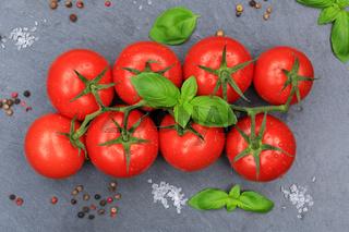 Tomaten Tomate rot Gemüse Schiefertafel von oben