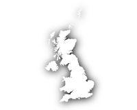 Karte von Großbritannien mit Schatten - Map of Great Britain with shadow