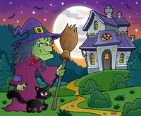 Witch with cat and broom theme image 4 - picture illustration.