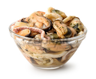 Glass bowl of seafood mix
