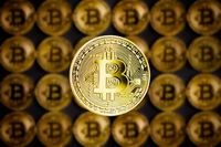 Golden bitcoins . Cryptocurrency.