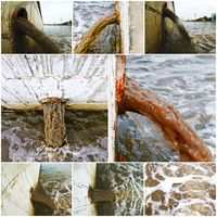 Collage of waste water discharge