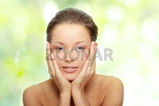 Close-up of beautiful woman face