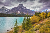 Autumn Bow River in Banff National Park