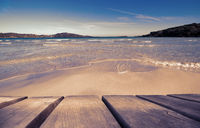 Wooden Board With Beautiful Beach As Background, Ruby Retro Filter