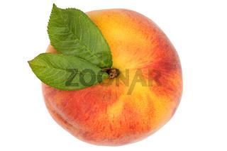 Pfirsich Frucht von oben Freisteller freigestellt isoliert