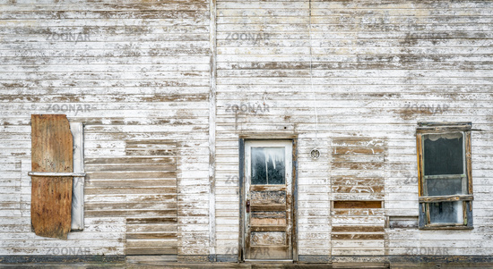 front facade of old abandoned building
