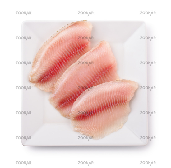 Top view of  plate with raw fish fillet