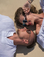 Sensual young couple on the beach