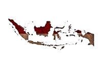 Karte und Fahne von Indonesien auf rostigem Metall - Map and flag of Indonesia on rusty metal