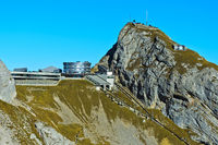 Upper station Kulm of the Pilatus railway, Hotel Bellevue and the Esel summit, Pilatus, Switzerland