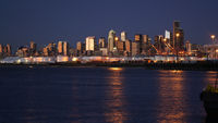 After Sunset Downtown City Skyline Seattle Washington Port Waterfront
