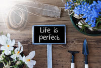 Sunny Spring Flowers, Sign, Quote Life Is Perfect