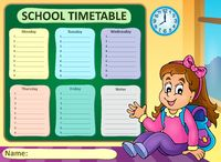 Weekly school timetable theme 7 - picture illustration.