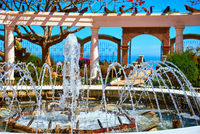 Fountain in the Marina d'Or garden. Oropesa del Mar resort town. Spain