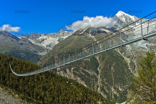 Charles Kuonen Suspension Bridge,the world's longest pedestrian suspension bridge,Valais Switzerland