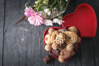 Heart shaped gift box with sweets