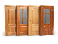 Sale of wooden doors isolated on white. Interior design or marketing concept.