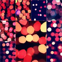 Christmas background with red glow defocused decoration over dark with copy space for your greeting, square format collage