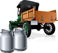 Vector retro delivery milk truck