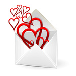loving hearts in envelope