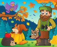 Forester and autumn animals theme 1