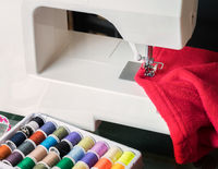 White sewing machine and cloth