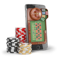 Online casino concept. Mobile phone with roulette and casino chips  isolated on white background.