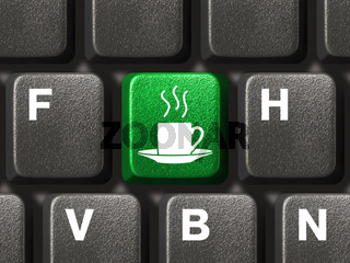 Computer keyboard with coffee key