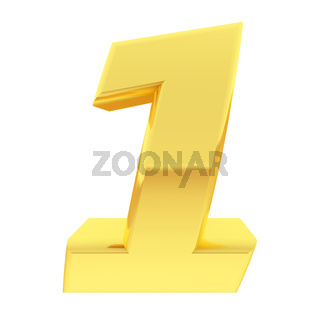 Gold number 1 with gradient reflections isolated on white. High resolution 3D image