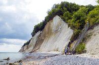 Chalk cliffs of the island Rügen and decline to the beach at the Kieler brook
