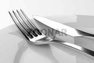Fork and knife with plates