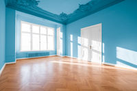 Empty room classical architecture, flat after renovation -