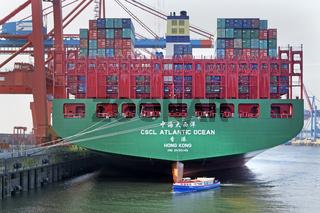Ein Containerschiff liegt im Hamburger Hafen, Containerterminal Eurogate, Hamburg, Deutschland