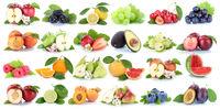 Früchte Frucht Obst Collage Apfel Orange Banane Orangen Erdbeere Äpfel Freisteller freigestellt isoliert