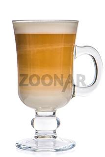 Glass cup mix latte coffee foam
