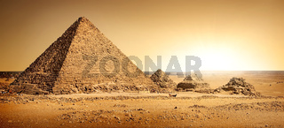 Egyptian pyramids in sand