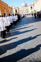 ROME-ITALY-24 10 2015, religious procession through the streets of Rome and the Vatican priests, nuns and monks praying to walk the stalls of oma