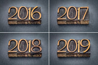year 2016, 2017, 2018 and 2019 set