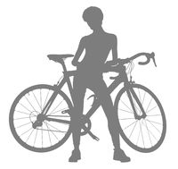 Silhouette of woman with a bicycle, isolated on a white background