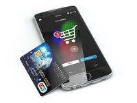 Mobile online shopping. E-commerce with smart phone and credit card isolated on white
