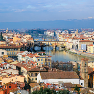 above view Arno River in Florence town in winter