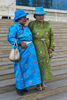 Two elderly ladies in festive garment and blue hats, Ulaanbaatar, Mongolia