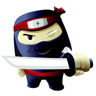Serious ninja with sword.