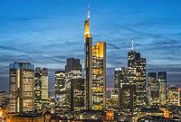 Frankfurt skyline in the evening