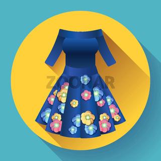 flower dress icon vector